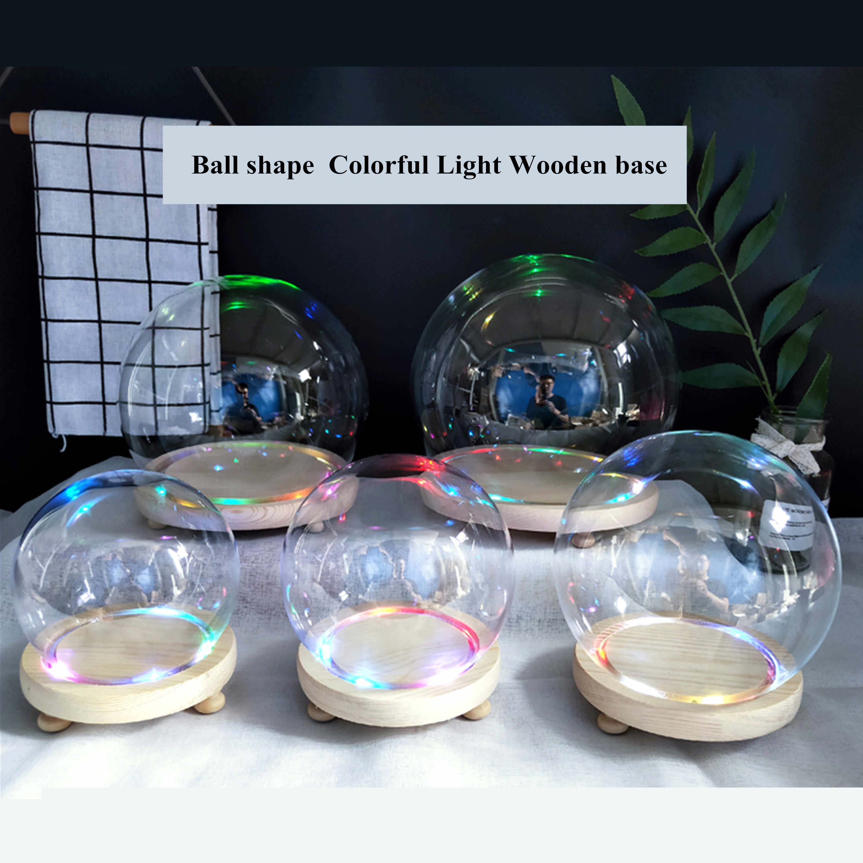 18cm Diameter Empty snow globe DIY gift glass snow dome with base with LED light Transparent cake cover wholesales