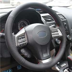 Top Leather Steering Wheel Hand-stitch on Wrap Cover For Subaru Forester 2013-2015 Legacy 2013-2014 Outback 2013-2014 XV 13-15