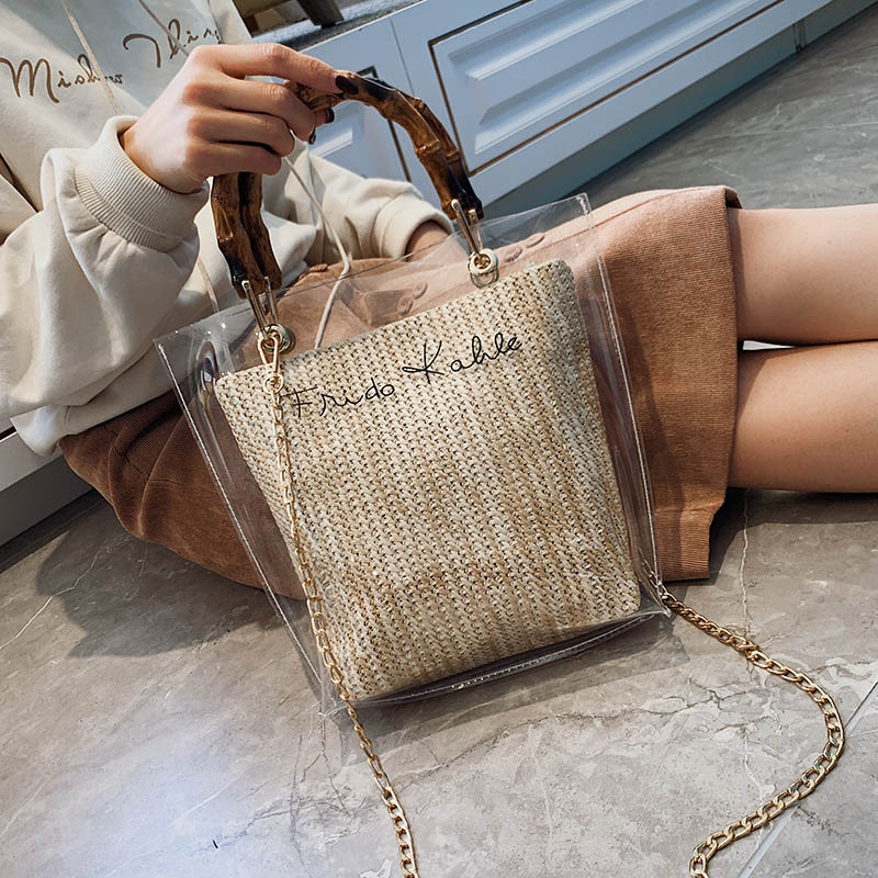Slub Handle Transparent Bags For Women 2020 Summer Travel Shoulder Messenger Crossbody Handbags Lady Beach Hand Bag
