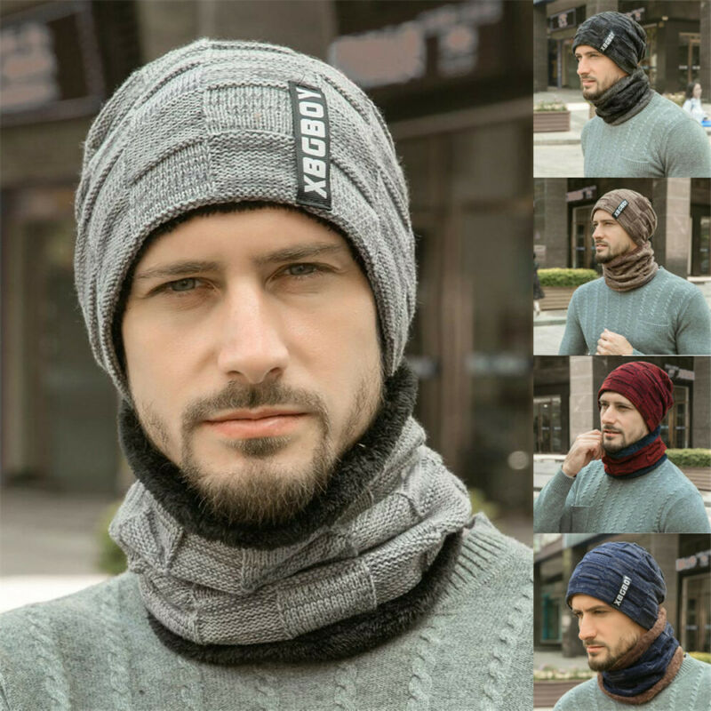 2pc Men Hat Scarf Set Beanie Hats XBGBOY Letter Decal Wool Knit Baggy Ski Sports Slouchy Chic Caps Outdoor Warm Scarf Hats Set