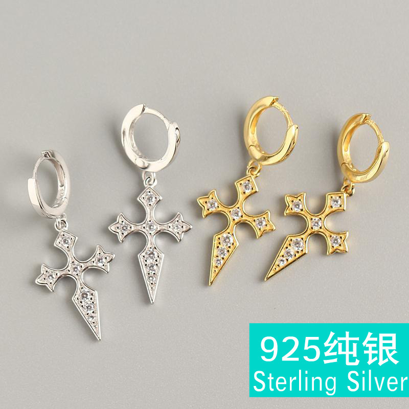 S925 sterling silver geometric zircon cross ear clip set spiral earrings for women jewelry