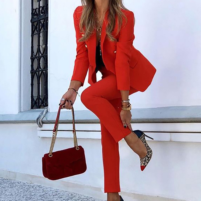 2020 Winter Women Set Notched Full Sleeve Blazers Pencil Pants Suit Office Lady Two Piece Set Tracksuits Casual Outfits