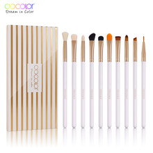 Docolor 10pcs Makeup Brushes Professional Eye Shadow Blending Eyeliner Eyebrow Brush For Makeup Brushes Synthetic Hair(China)