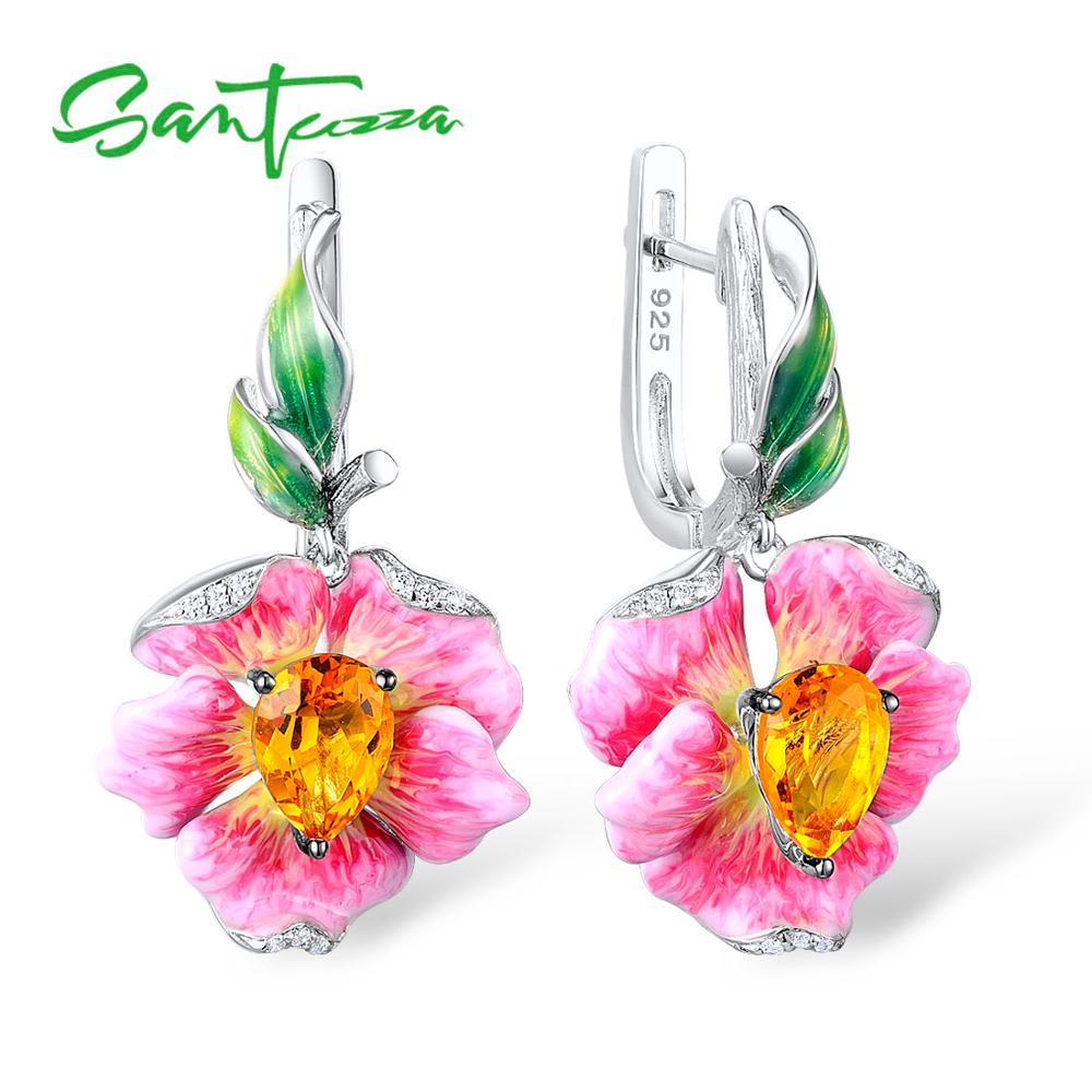 SANTUZZA Women's Earrings Pure 925 Sterling Silver Drop Earrings Flower Earrings Luxury For Women Fine Jewelry HANDMAKE Enamel