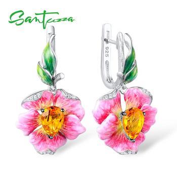 SANTUZZA Women's Earrings Pure 925 Sterling Silver Drop Earrings Flower Earrings Luxury For Women Fine Jewelry HANDMAKE Enamel