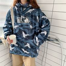 NiceMix Hip Hop 2019 Winter Vintage Print Hooded Sweatshirts Women Oeversize Loose Hoodies Chic Pullover Long Sleeve Tops(China)