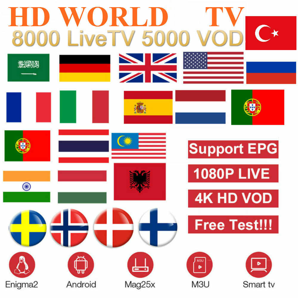 Europe iptv LiveTV abonnement France royaume-uni allemand arabe néerlandais suède français pologne Portugal Smart TV IPTV M3U 8000 en direct