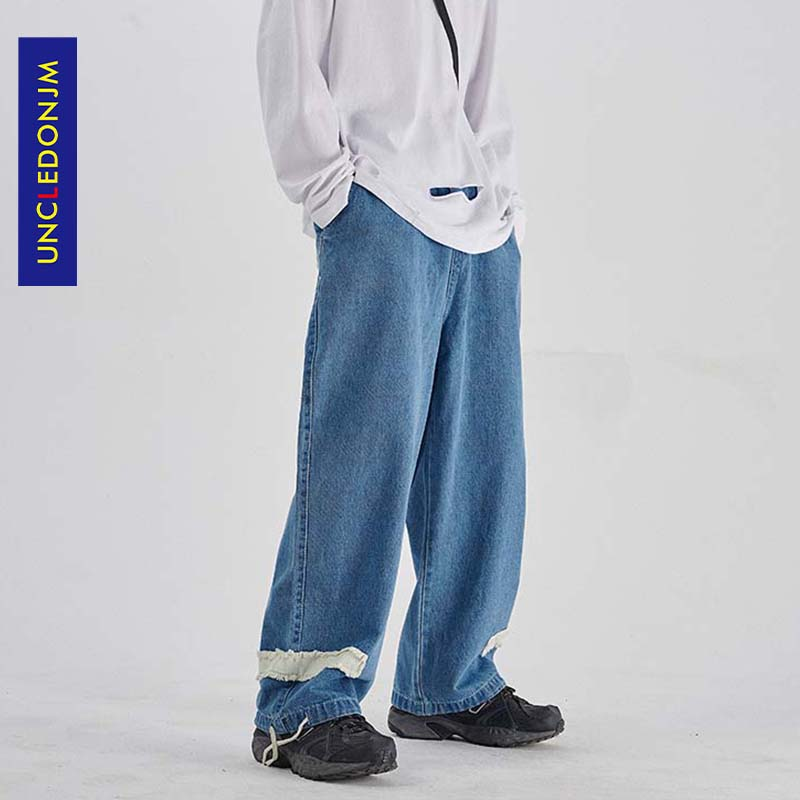 UNCLEDONJM свободные мужские джинсы, брендовые хип-хоп хипстерские уличные брюки, мужские Модные брюки в стиле панк-рок, мужские AN-C042