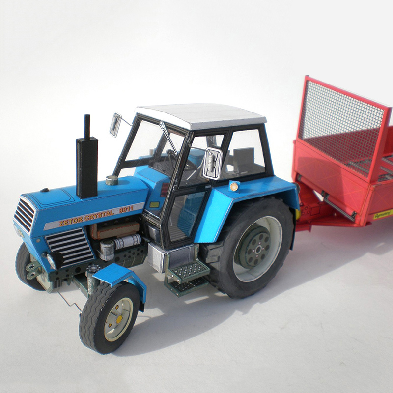 Zetor Crysta 8011 Tractor 1:32 Czech Folding Cutting Mini 3D Paper Model Papercraft DIY Adult Handmade Craft Toys ZX-025