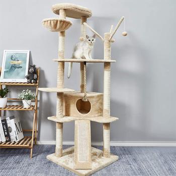 Kocie drzewo wieża mieszkanie Scratcher dom z hamakiem dla zwierząt domowych kocie drzewo wieża zwierzęta Arbre a chat wspinaczka skoki zabawka kot drzewo wieża tanie i dobre opinie CN (pochodzenie) cats Drewna