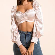 Women Square Collar Solid Color Buttons Long Puff Sleeve T-shirt Sexy Cropped Backless Tops With Zipper For Ladies Fashionable недорого