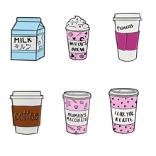 Cute Cartoon Coffee Cup pins Travel cup brooches To go badges Milk lapel Gift for coffee lover
