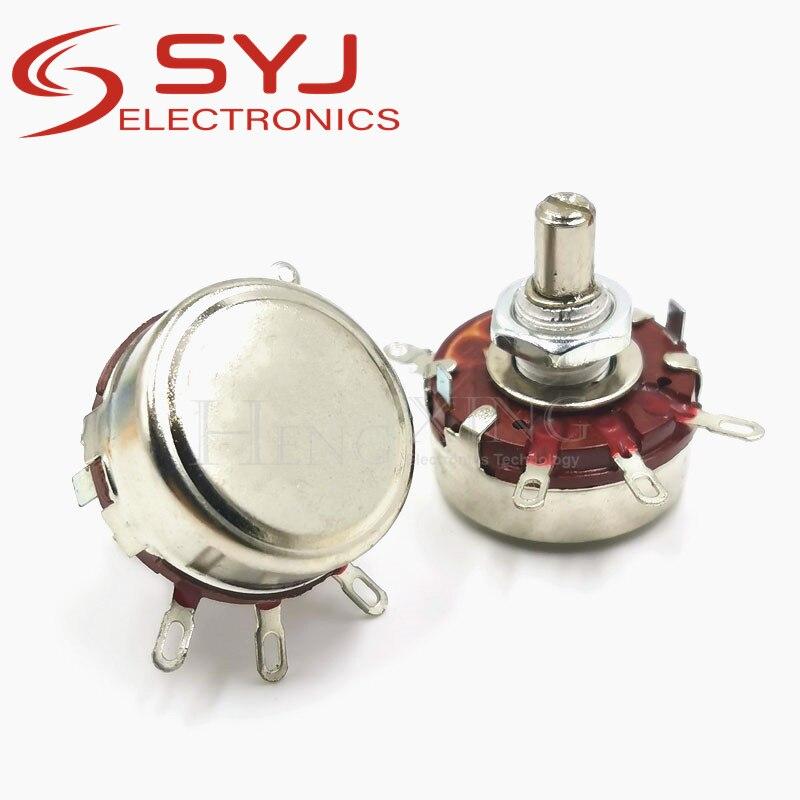 5 pçs/lote WTH118 2W 1A WTH118-2W 1M ohm Potenciômetro Eixo Redondo de Carbono Rotary Taper Potenciômetro