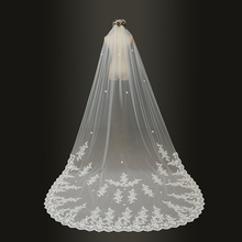 2019 wedding veils 3 Meter Cathedral Long Lace Edge Bridal Veil with Comb Wedding Accessories Bride Wedding Veil