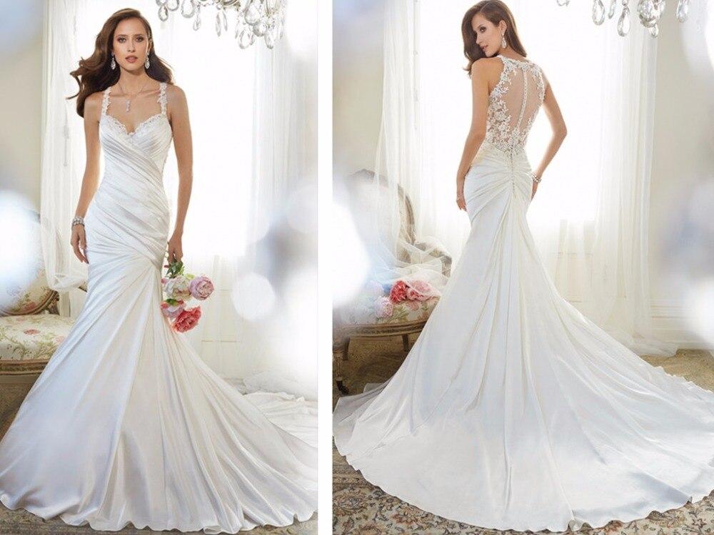 Mermaid Sexy Sheer Back Wedding Dress Fish Tail Vestidos De Novia 2016 Sweetheart Romantci Bridal Party Gowns Robe De Mariage