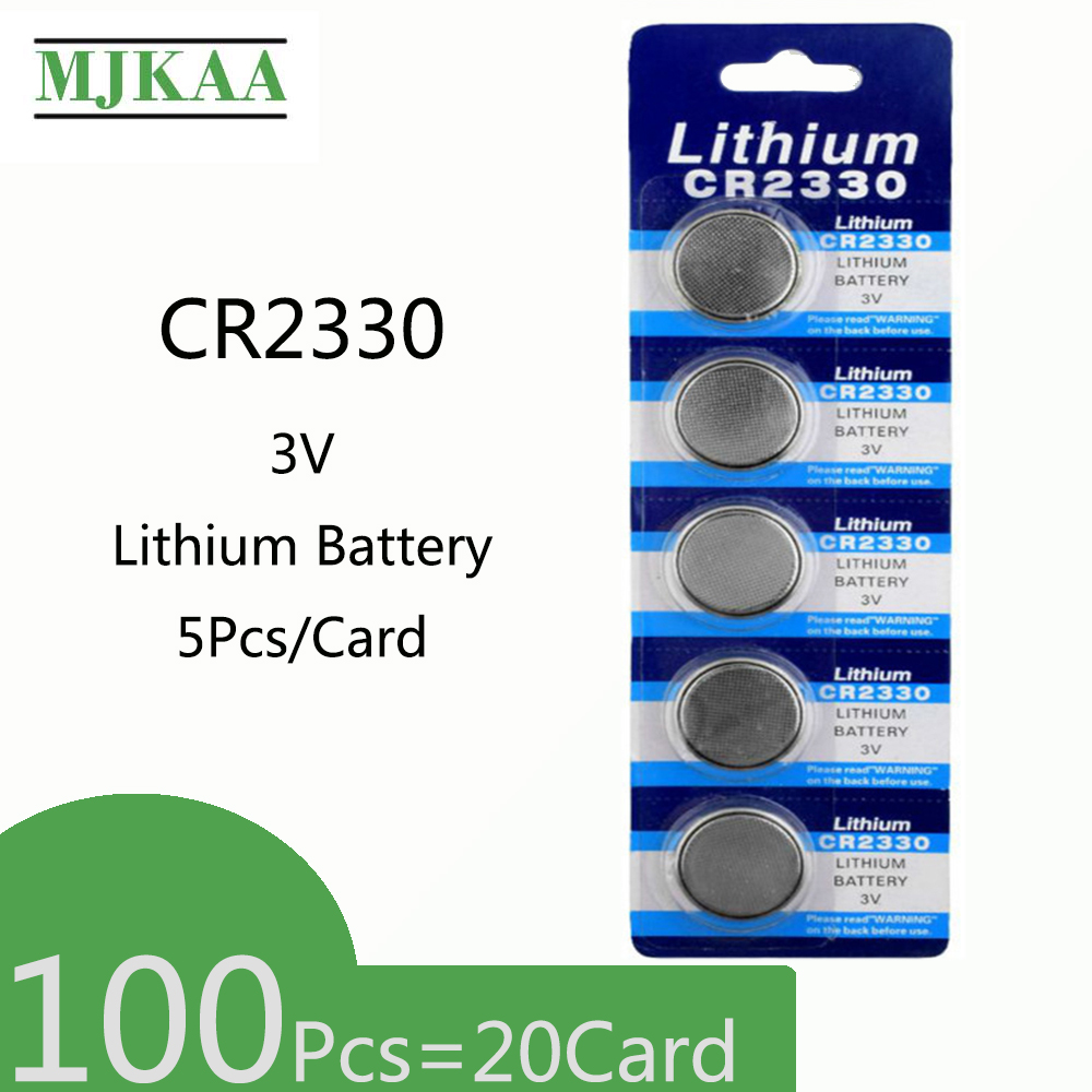 100pcs=20Card CR2330 Lithium 3V Button Battery BR2330 ECR2330 Cell Coin Batteries For Watch Electronic Toy Remote image
