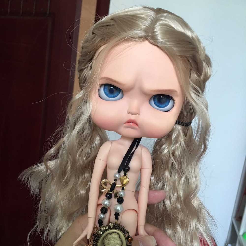ICY 19 joint blyth doll with makeup face white skin with wig Girl gift angry meat doodle Ignora expression makeup doll Fat toot