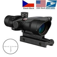 4X32 Hunting Riflescope Real Fiber Optics Grenn Red Dot Illuminated Etched Reticle Tactical Optical Sight