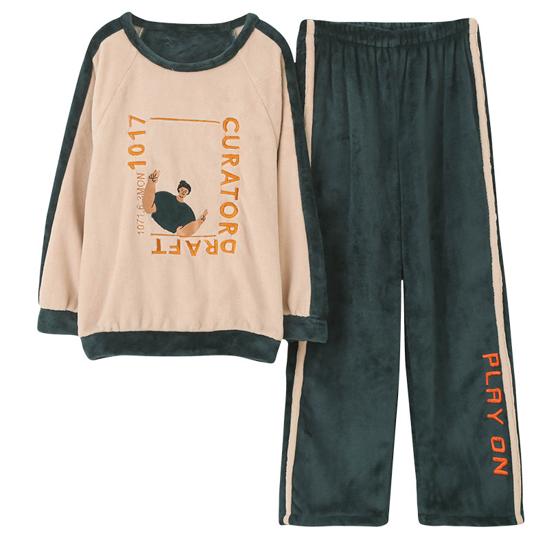 Thick Coral Velvet Long Sleeve Cartoon Sleepwear Thin Flannel Pajamas Set For Girl Autumn Winter Warm Flannel Women Homewear