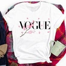 Цветочный vogue с буквенным принтом футболка короткими рукавами