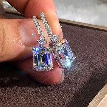 RongXing белый ААА Цирконий квадратные серьги для женщин 925 серебро кристалл обруч с камнем серьги женский аксессуар Рождественский подарок