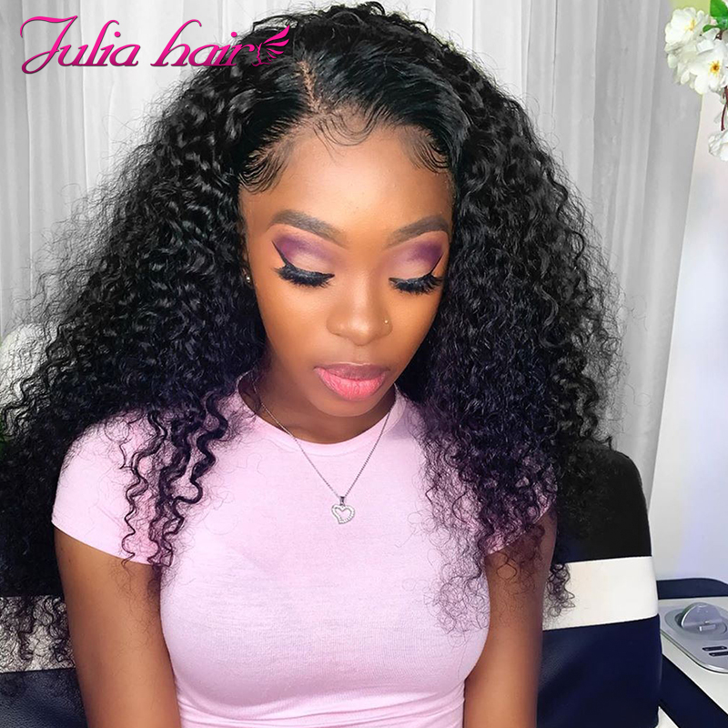 Ali Julia Hair 13×4 13×6 Inch Transparent Lace Front Wig Malaysian Curly Hair Wigs With Baby Hair 100% Remy Human Hair