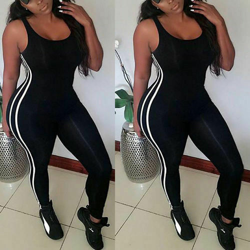 Sexy Women Side Striped Sports Jumpsuit Gym Yoga Running Fitness Athletic Sleeveless Leggings Jumpsuit Romper Summer Tracksuit