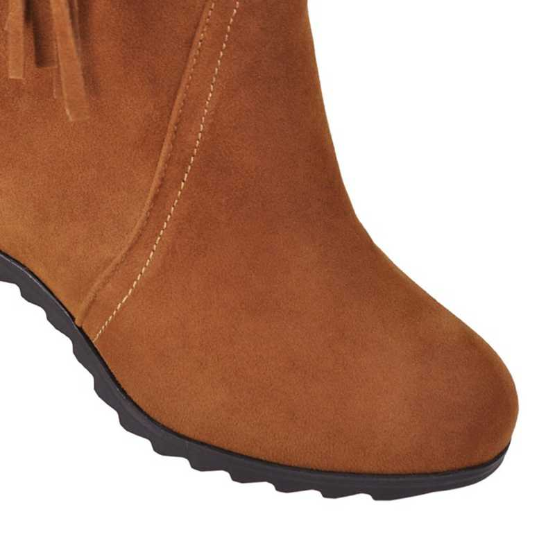 REAVE CAT/ботильоны с круглым носком, увеличивающие рост, из флока, без шнуровки украшение бахромой, размеры 34-43, коричневые, бежевые, черные зимние сапоги