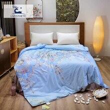 Liv-Esthete European Court 100% Mulberry Silk Blue Duvet Comforter Filled Four Seasons Blanket Double Queen King Quilts