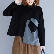 BelineRosa European Casual Style Patchwork Turtleneck Collar Long Sleeve T-shirts Autumn Winter YXWY0010