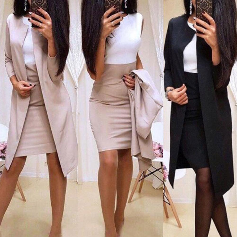 2Pcs Office Lady Autumn Solid Color Long Blazer Jacket Bodycon Mini Skirt Suit