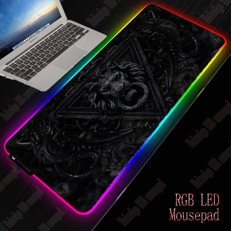 XGZ Lion Black Large RGB Gaming Mouse Pad Gamer Keyboard Mousepad LED Light USB Wired Non-Slip Animal Mouse Mice 7 Dazzle Colors 1