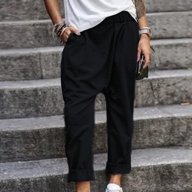 Women Cotton Blend Pants Oversized 2020 Autumn Casual Pant Loose Lady Cotton Pant Solid Color Female Harem Pants