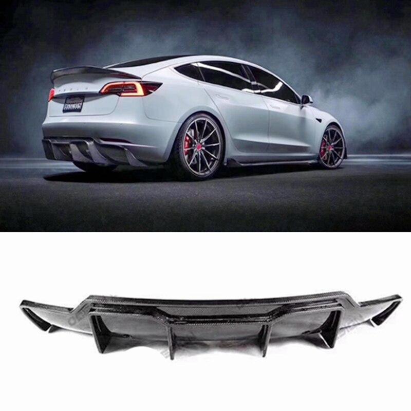 Para Tesla modelo 3 V estilo de fibra de carbono labio trasero real fibra de carbono kit de cuerpo del difusor trasero 2017-2019