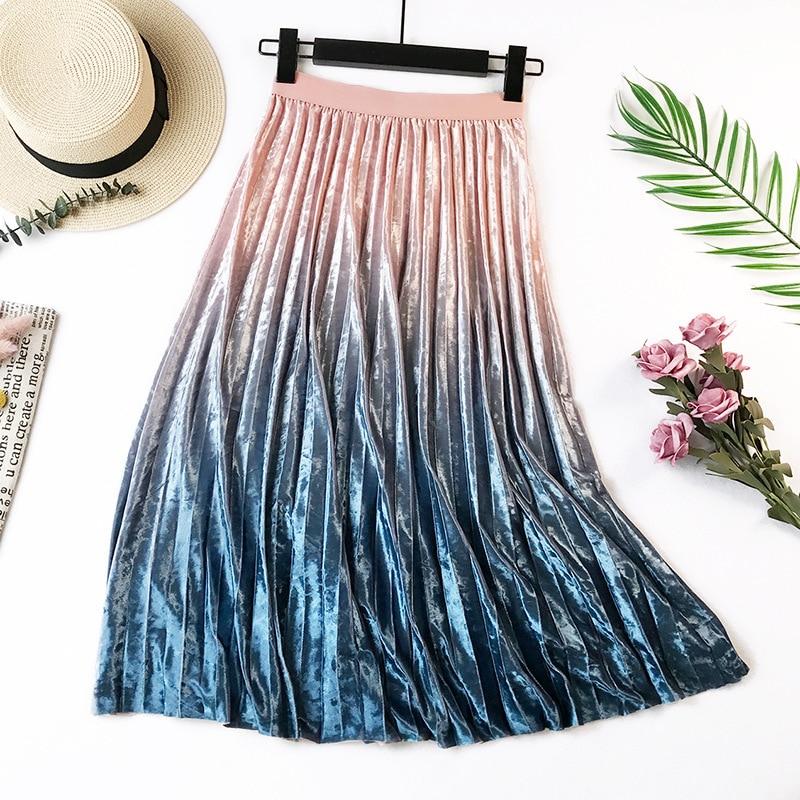 Gradient Velvet Pleated Skirt 9