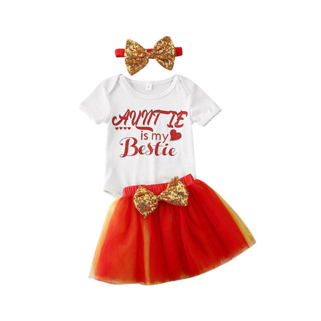 Baby Girl 3PCS Birthday party Clothes short sleeve Auntie Bestie white Romper Tops red Mesh Tutu Skirts Dress Outfits Set