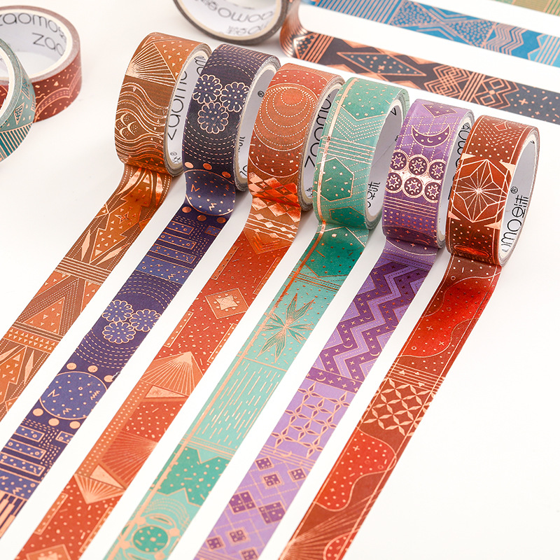Vientiane Skylight Series Magical Universe Mysterious Gold Pattern Vintage Gilding Decoration Washi Tape Set DIY Masking Tape