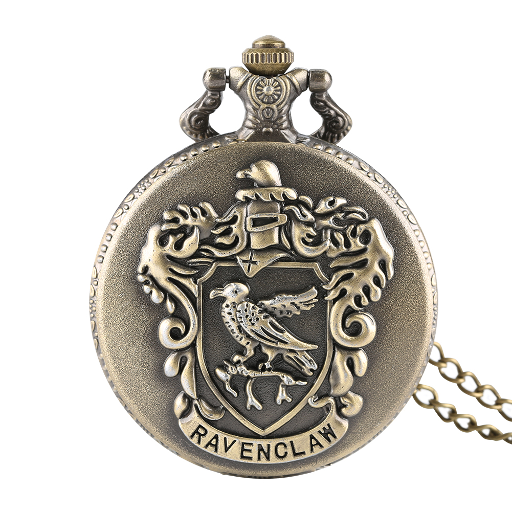 Classic Bronze Ravenclaw Quartz Pocket Watch Full Hunter Roman Numerals Necklace Clock With Pendant Movie Fans Gifts Reloj