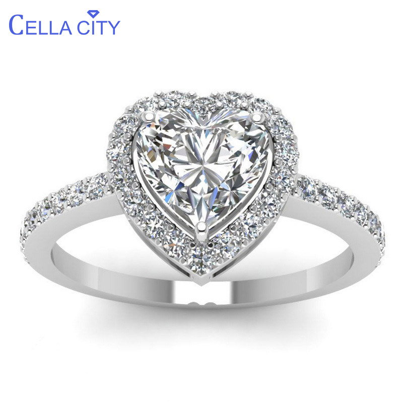 Cellacity Heart Shaped Silver 925 Rings Fine Jewelry For Women Gemstones White Blue Female Wedding Engagement Accessory Size6-10