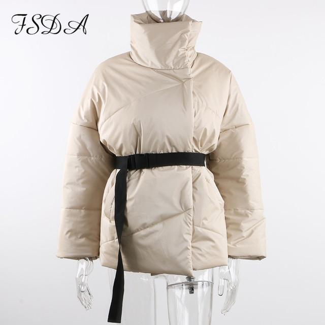 FSDA automne hiver femmes manteau veste Parkas chaud avec ceinture décontracté 2020 poche ample bulle kaki ceintures courtes vestes épais 5
