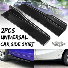 Splitters Bumper Skirt Car-Body-Side Carbon-Fiber-Style Universal Rocker Winglet 2pcs