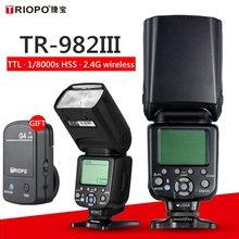 TRIOPO TR 982III GN58 TR 982 III 2.4G Sem Fio TTL HSS 1/8000 Câmeras Master Slave Flash Speedlite para Nikon Canon