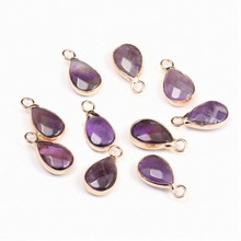 Natural Stone Fashion  drop-shaped Shape Amethysts pendant for DIY  bracelet necklace charm jewelry making 8x16mm цена