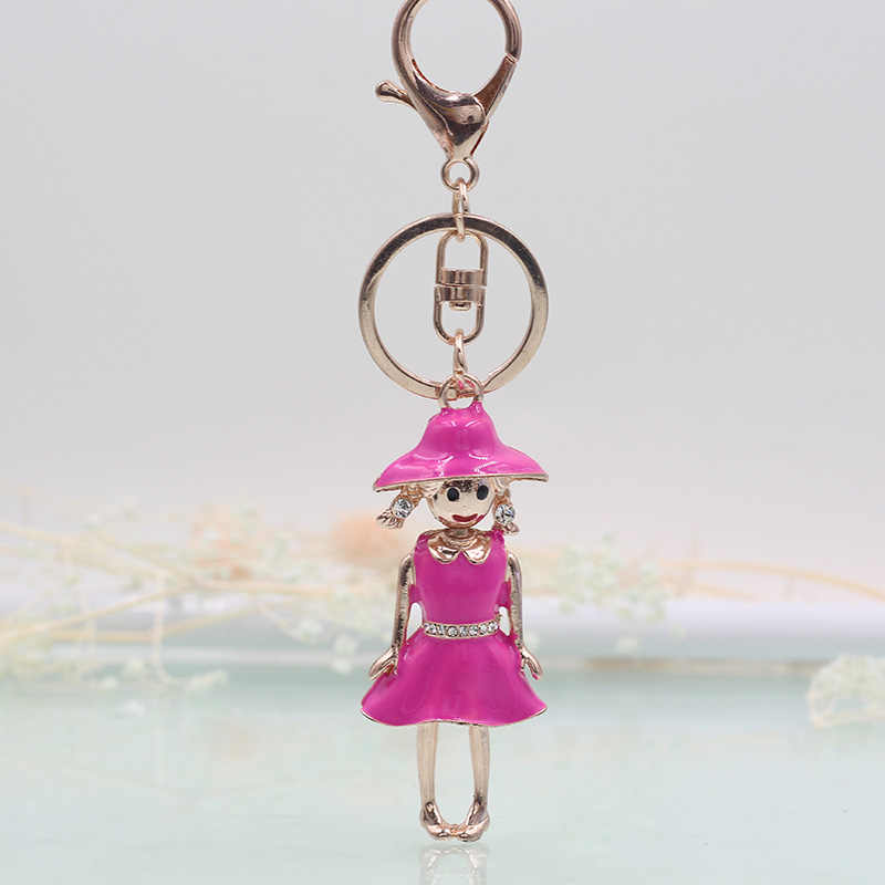 Vick Dolly oro rosa moda linda chica llavero Multicolor cristal Rhinestone coche regalo llavero señoras Satchel joyería