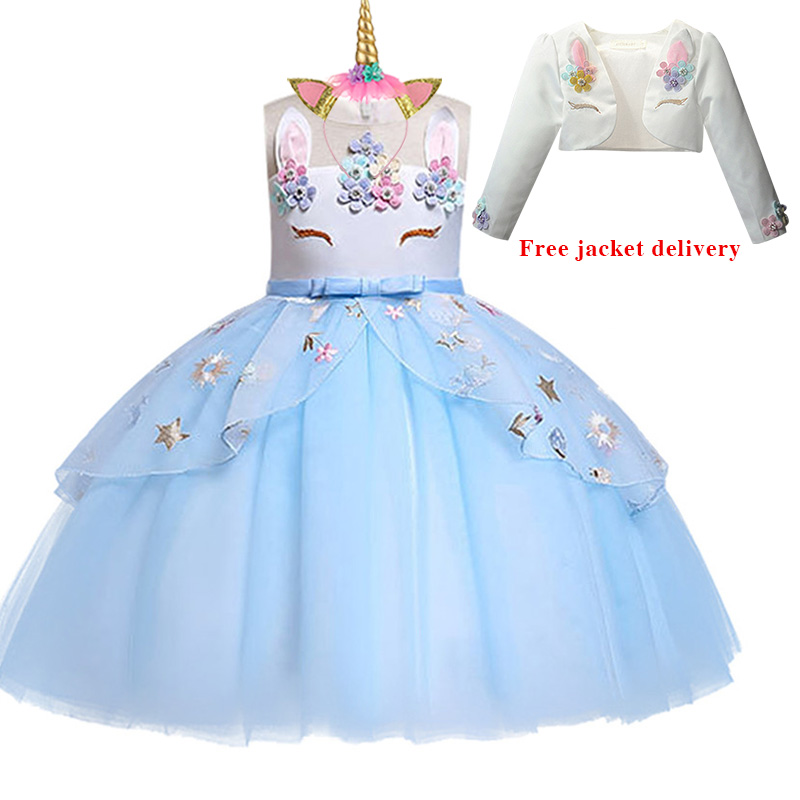 H318c31ec94824956ae7c42706e6379d8v New Unicorn Dress for Girls Embroidery Ball Gown Baby Girl Princess Birthday Dresses for Party Costumes Children Clothing