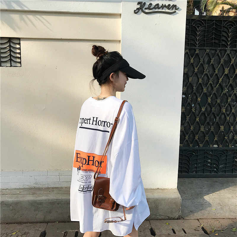 Long-sleeved T-shirt Female Ins Super Hot Spring And Autumn 2019 New Loose Korean Oversize White Letters Jacket