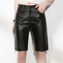 Genuine Leather Women Real Sheepskin Ladies High Waist Spring Autumn Black Streetwear Casual Shorts Female Plus Size