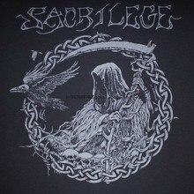 Camiseta preto sacrilege reaper (impressão cinza novo) s m l xl 2xl varukers