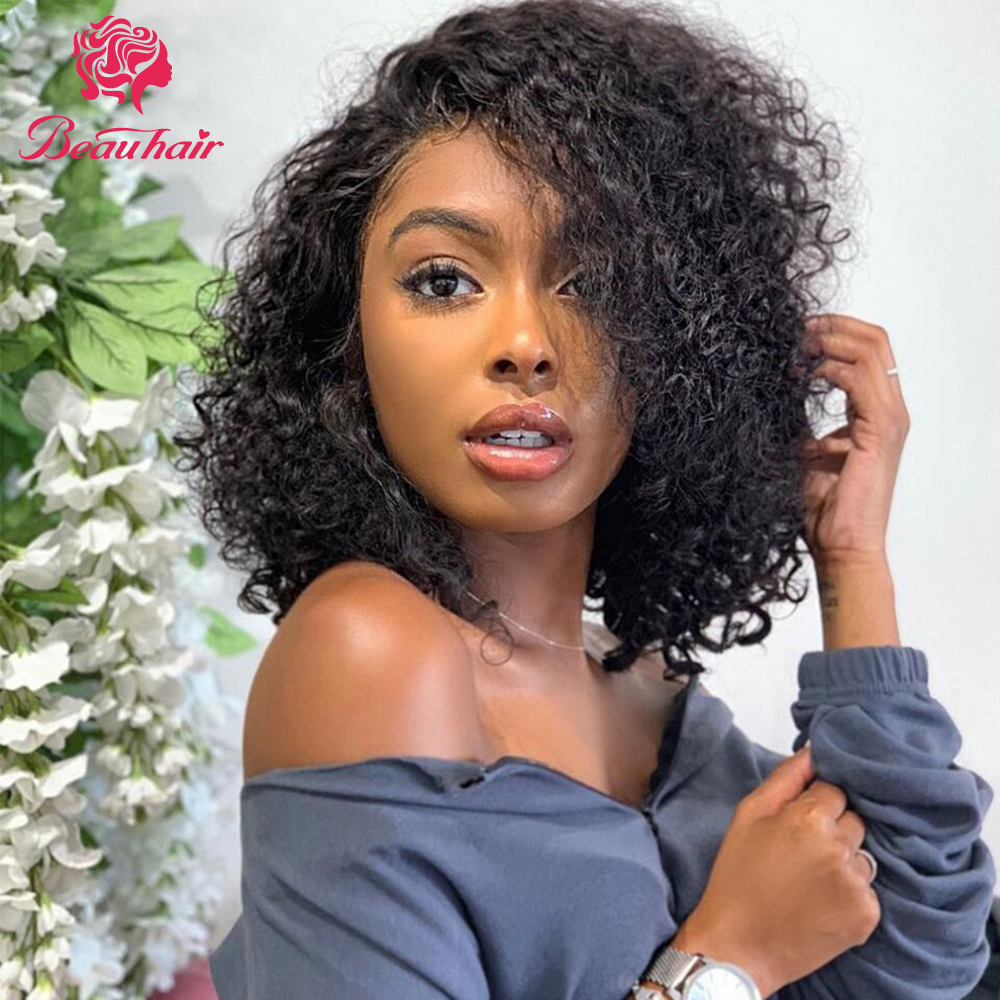 Peruvian Human Hair Bob Kinky Curly Human Hair Wig Lace In Front Human Hair Wigs Non-Remy Pre Plucked With Baby Ha 150% Density