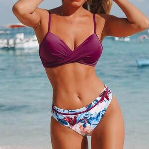 Swimsuit Women Bikini-Set Bathing Padded Beachwear Print Push-Up